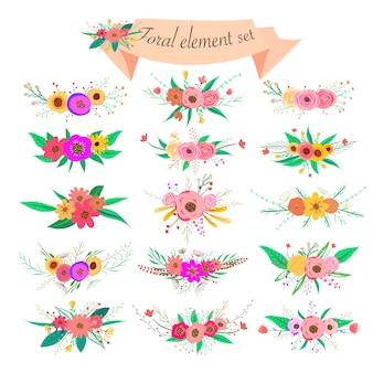 Florales element gesetzt. dekorative blume und blatt. federelemente.
