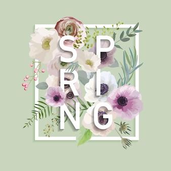 Florales frühlings-grafikdesign mit anemonenblüten