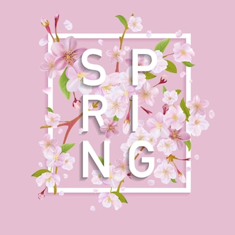 Florales frühlings-grafikdesign mit kirschblüte
