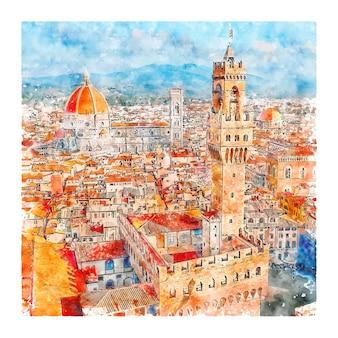 Florenz italien aquarell skizze hand gezeichnete illustration
