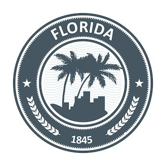 Florida-emblem mit palmen- und stadtschattenbildern