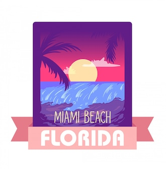 Florida miami-sommerzeitvektor-illustrationskonzept