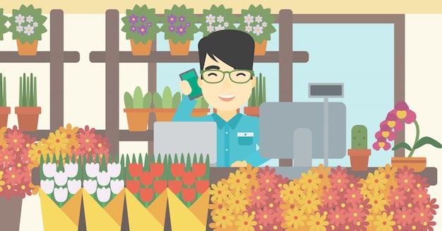 Florist an der blumenladenvektorillustration.