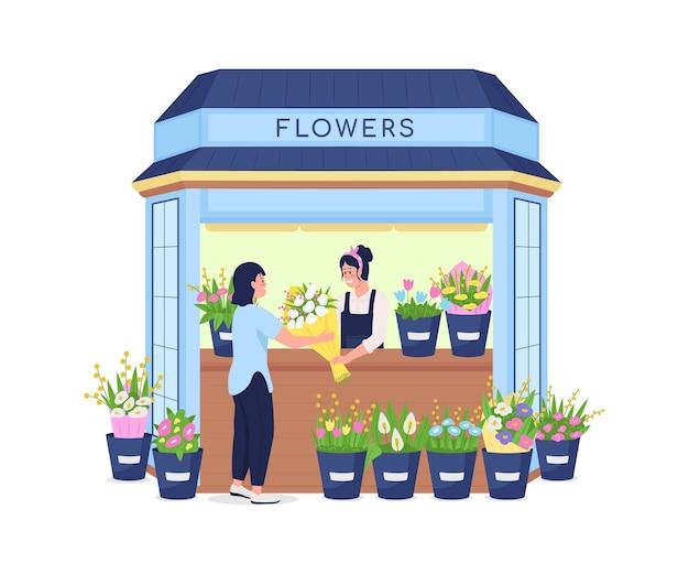 Florist, der blumen zum detaillierten charakter der flachen farbe des kunden verkauft