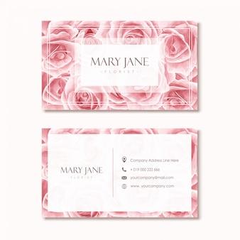 Floristen-visitenkarte-schablone mit rosa aquarell-blumenmuster