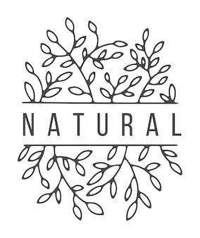 Floristisches logo mit einfachen zweigen und blumen. isoliertes logo mit text. kopieren sie platz im rand, minimalistische trendige skizze. modisches kunstwerk. farbloses blumenmuster, vektor im flachen stil