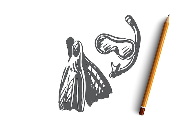 Flossen, schnorcheln, maske, unterwasser, tauchkonzept. hand gezeichnete ausrüstung für tauchkonzeptskizze. illustration.