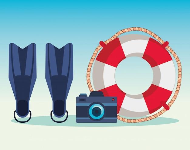 Flossenwassergerät mit kamera und schwimmer
