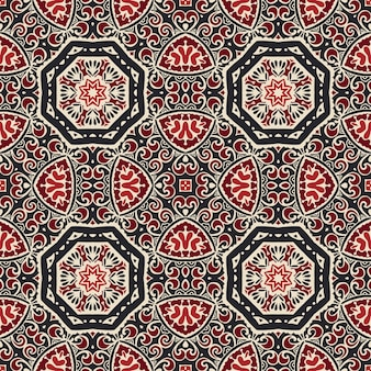 Flourish gekacheltes muster. geometrisches nahtloses muster des abstrakten mandalas