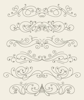 Flourish kalligraphisches design-set