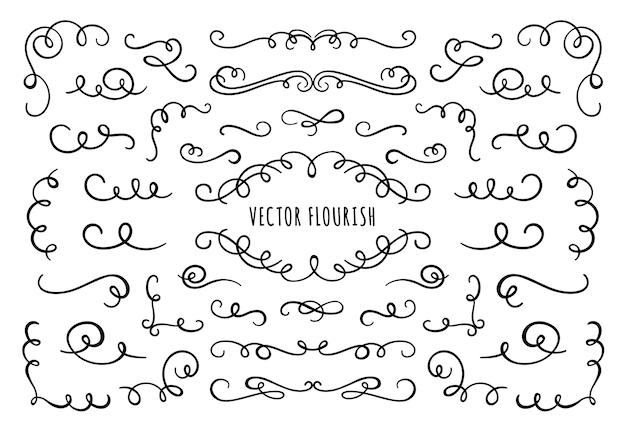 Flourish rahmen, ecken und trennwände. dekorative schnörkelecke, kalligraphischer teiler und verzierte schriftrollenwirbel