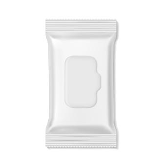 Flow-pack. feuchttücher packungen hygienemedizin apotheke schönheit leer, snack keks süßigkeiten realistische wrap-vorlage isoliert