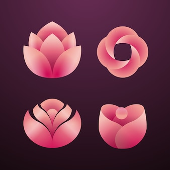 Flower abstract gradient logo icon sammlung set pack