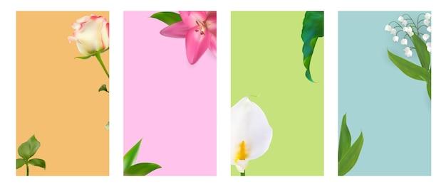 Flower natural background für instagram stories post set