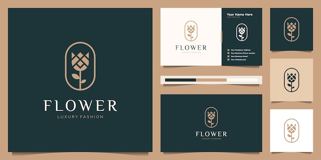 Flower rose luxus-logo-design und visitenkarte