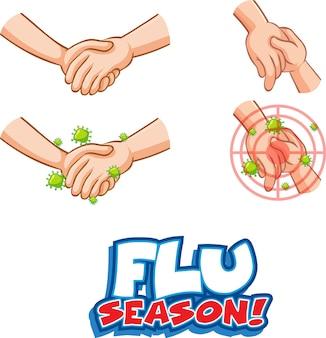 Flu season schriftdesign mit virus verbreitet sich durch händeschütteln auf weißem hintergrund