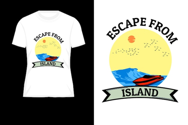 Flucht aus dem retro-t-shirt-design der inselsilhouette