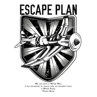 Fluchtplan schwarz und weiß