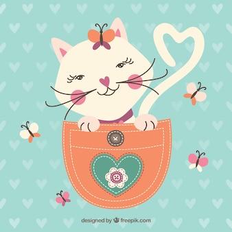Flüchtige katze in der tasche