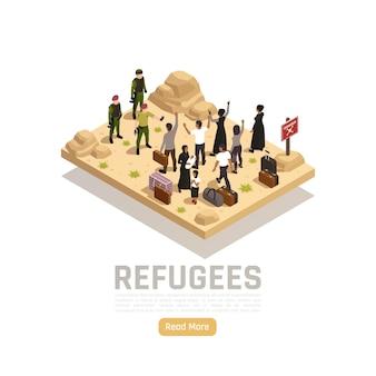Flüchtlinge isometrisch mit militär, das eine gruppe von menschen trifft, die aus dem krieg geflohen sind und hilfe benötigen