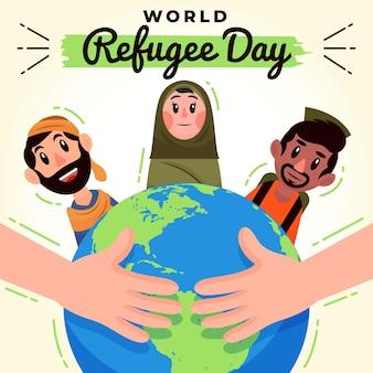 Flüchtlingsmenschen und planet erde