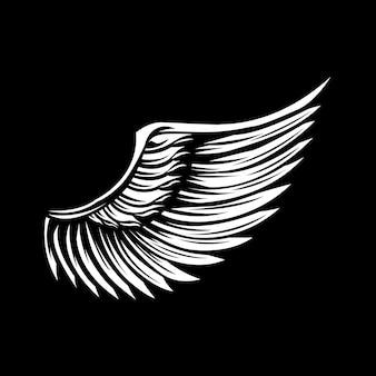 Flügel auf schwarzem