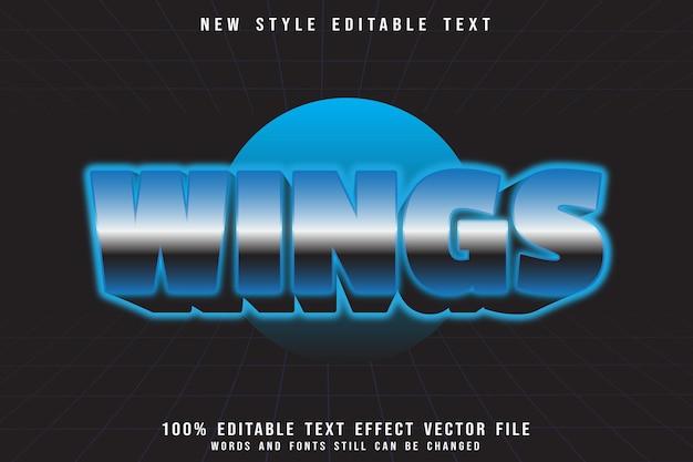 Flügel bearbeitbarer texteffekt prägen retro-stil