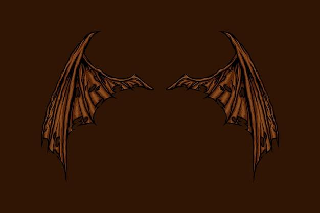Flügel der drachenvektorillustration