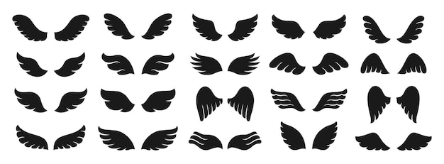 Flügel-icon-set-silhouette geflügeltes logo-zeichen