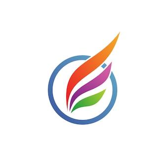 Flügel im kreis logo vector