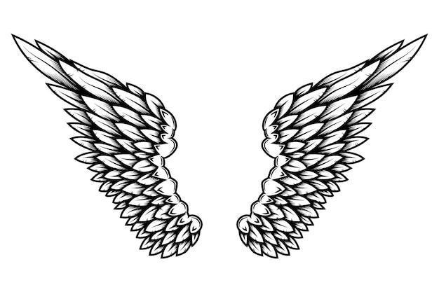 Flügel im tattoo-stil isoliert auf weißem hintergrund. gestaltungselement für poster, scheiße, karte, emblem, schild, abzeichen. vektor-illustration