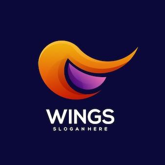 Flügel logo bunte farbverlauf illustration