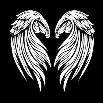 Flügel schwarz und weiß