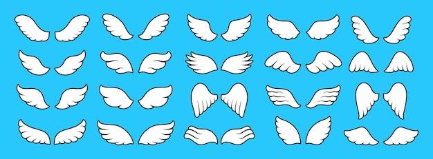 Flügel-symbol einfacher cartoon-satz geflügeltes logo