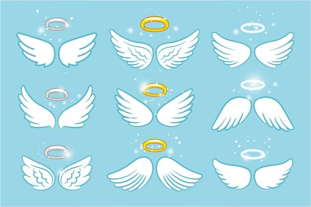 Flügel und nimbus. niedliche cartoonzeichnungen des engels winged ruhmhalos