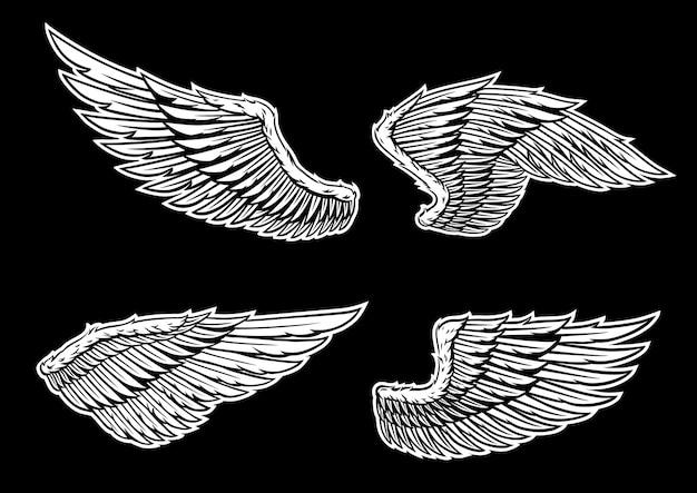 Flügel vektor gesetzt