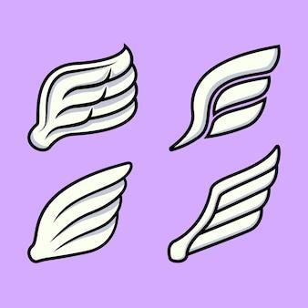 Flügel-vektor-icons gesetzt. flügelsatz, ikonenflügel, federflügelvogelillustration