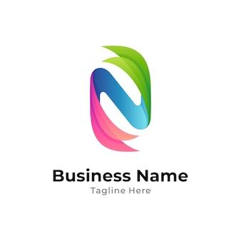 Flügelbuchstabe n kreatives logokonzept mit buntem farbverlauf