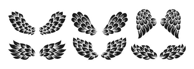Flügelsymbollinie gekritzel gesetztes zeichen geflügelter logovektor