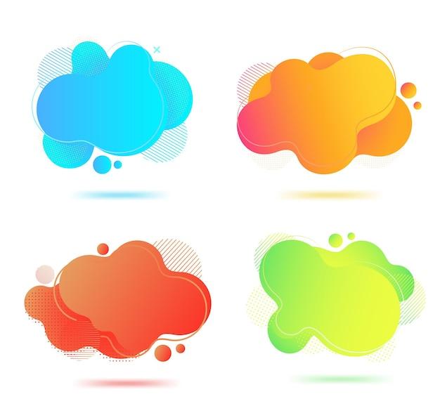 Flüssige abstrakte banner. satz geometrischer flüssiger formen. grafische dynamische formen mit farbverlauf für minimales kurviges design.