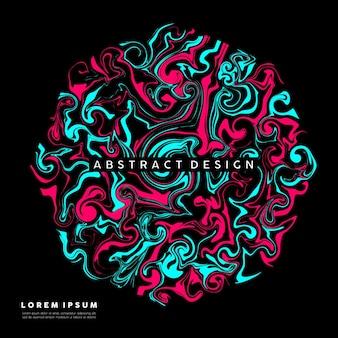 Flüssige abstrakte kunst mit einer mischung aus hellblauer und rosa farbe