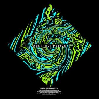 Flüssige abstrakte kunstbox mit gemischter hellgrüner und hellblauer farbe
