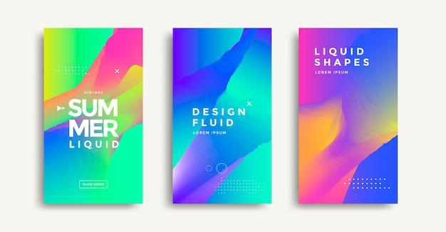 Flüssige bunte geometrische formen abdeckungsset flüssige farbverläufe banner-design modernes design poster