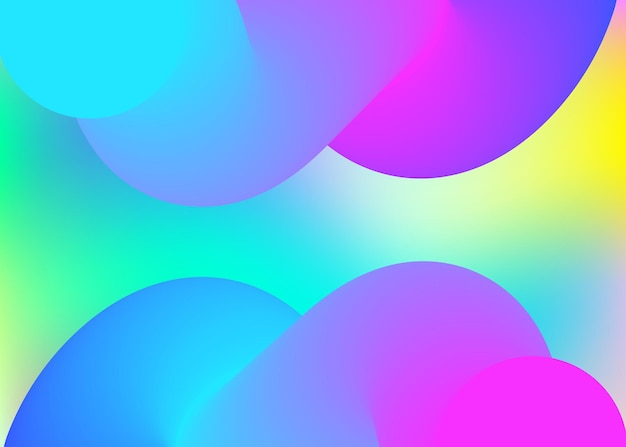 Flüssige elemente. holographische 3d-kulisse mit moderner trendiger mischung. lebendiges verlaufsgitter. regenbogenfahne, buchdesign. flüssiger elementhintergrund mit dynamischen formen und flüssigkeit.