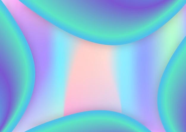 Flüssige elemente. lebendiges verlaufsgitter. regenbogenzertifikat, zeitschriftenlayout. holographische 3d-kulisse mit moderner trendiger mischung. flüssiger elementhintergrund mit dynamischen formen und flüssigkeit.