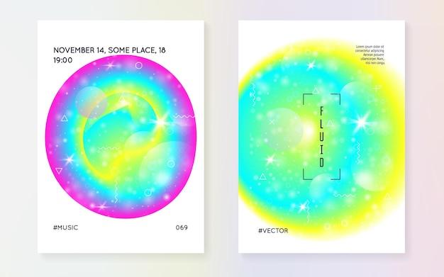 Flüssige elemente. moderner holographischer farbverlauf, unschärfe, netz, mischung. chemiemagazin. futuristischer hintergrund.