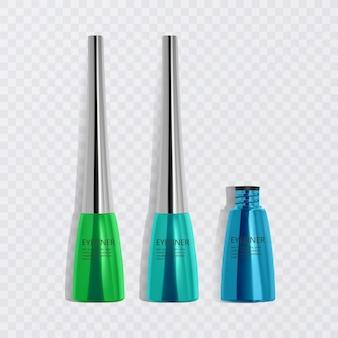 Flüssige eyeliner, satz von hellen bunten eyeliner, produkt für kosmetische verwendung in der 3d-illustration, isoliert