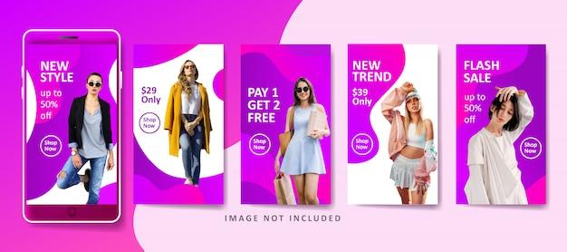 Flüssige fahnenschablone der modernen mode für social media