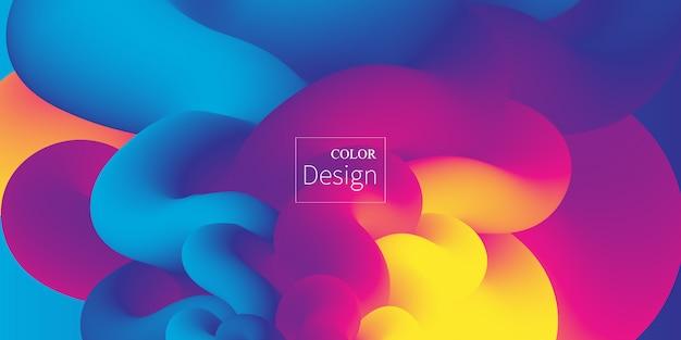 Flüssige farben. flüssige form. tintenspritzer. bunte wolke. strömungswelle. modernes plakat. farbiger hintergrund. .