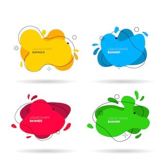 Flüssige farben formen festgelegt. vektor-illustration grafische gestaltungselemente. moderne minimale etikettenvorlagen. abstrakte farbenfrohe banner. dynamische futuristische formen für das branding